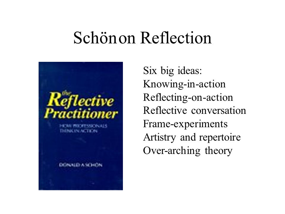 Schön on Reflection Six big ideas: Knowing-in-action
