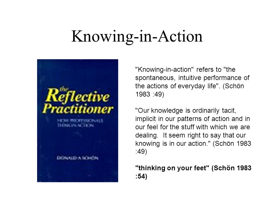 Knowing-in-Action Knowing-in-action refers to the spontaneous, intuitive performance of the actions of everyday life . (Schön 1983 :49)