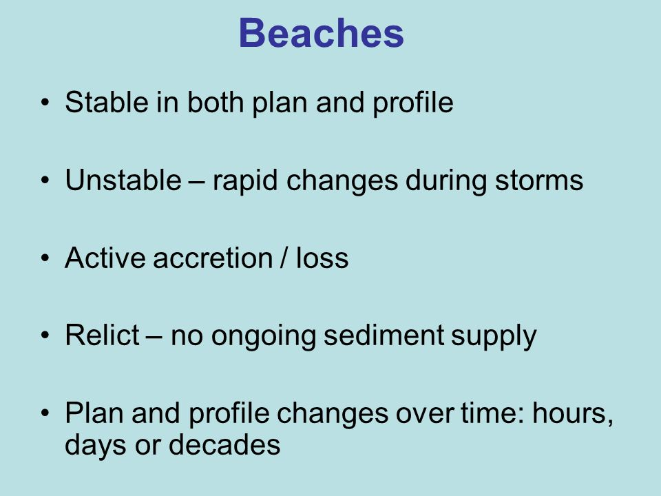 Beaches Stable in both plan and profile