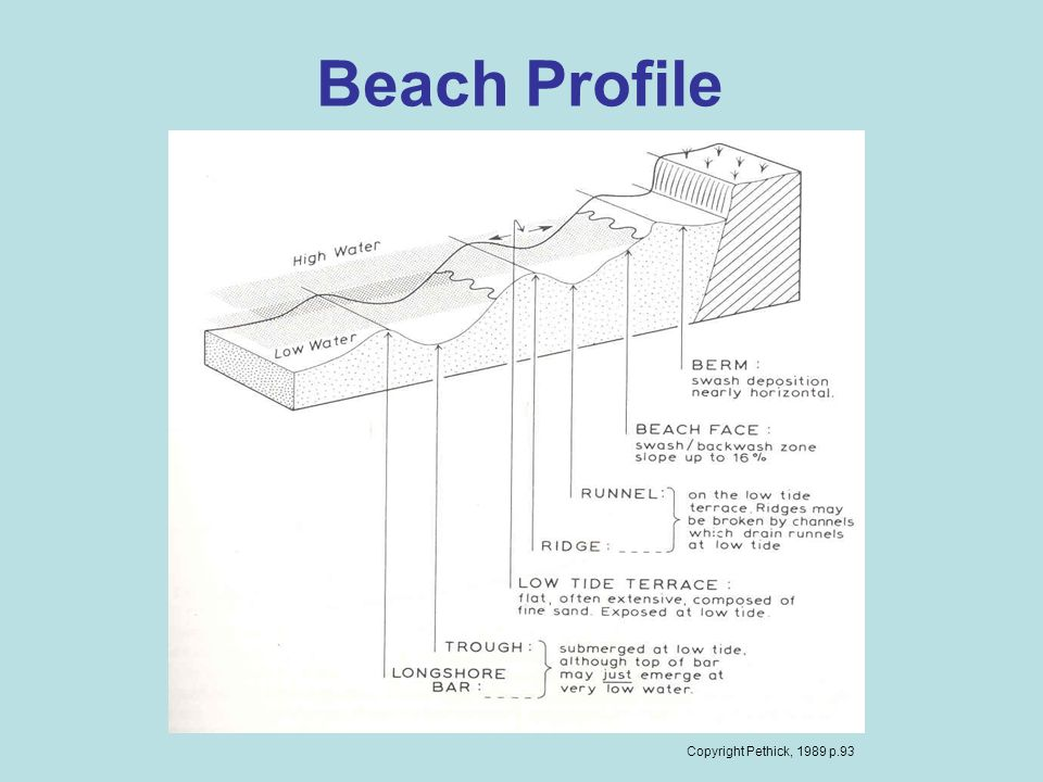 Beach Profile Copyright Pethick, 1989 p.93