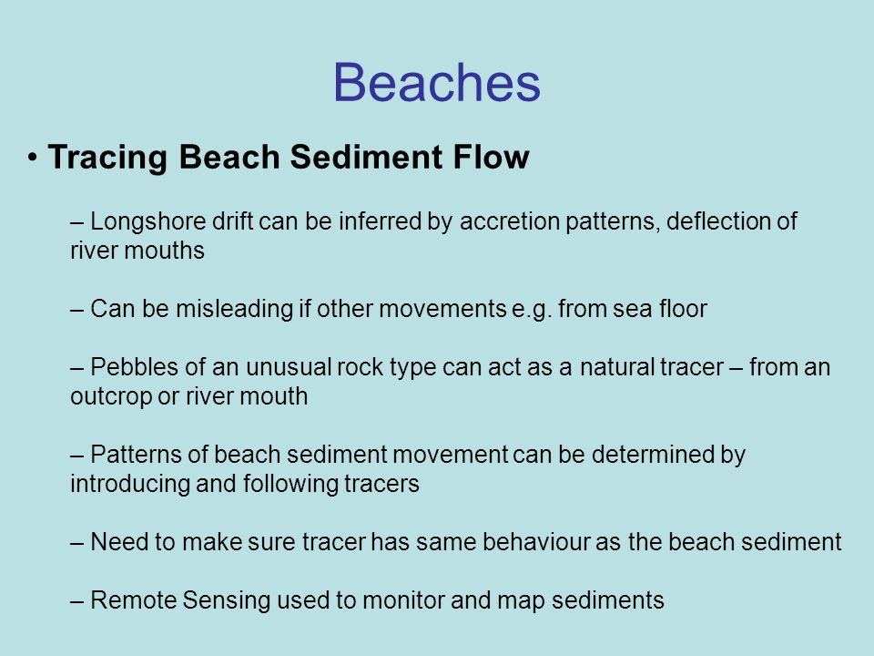 Beaches Tracing Beach Sediment Flow