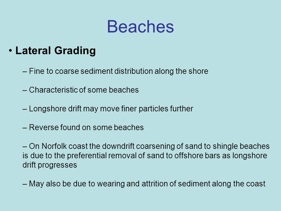 Beaches Lateral Grading