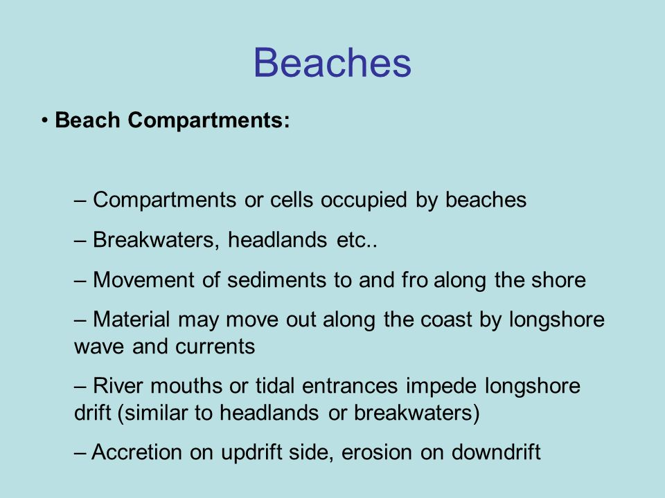 Beaches Beach Compartments: Compartments or cells occupied by beaches
