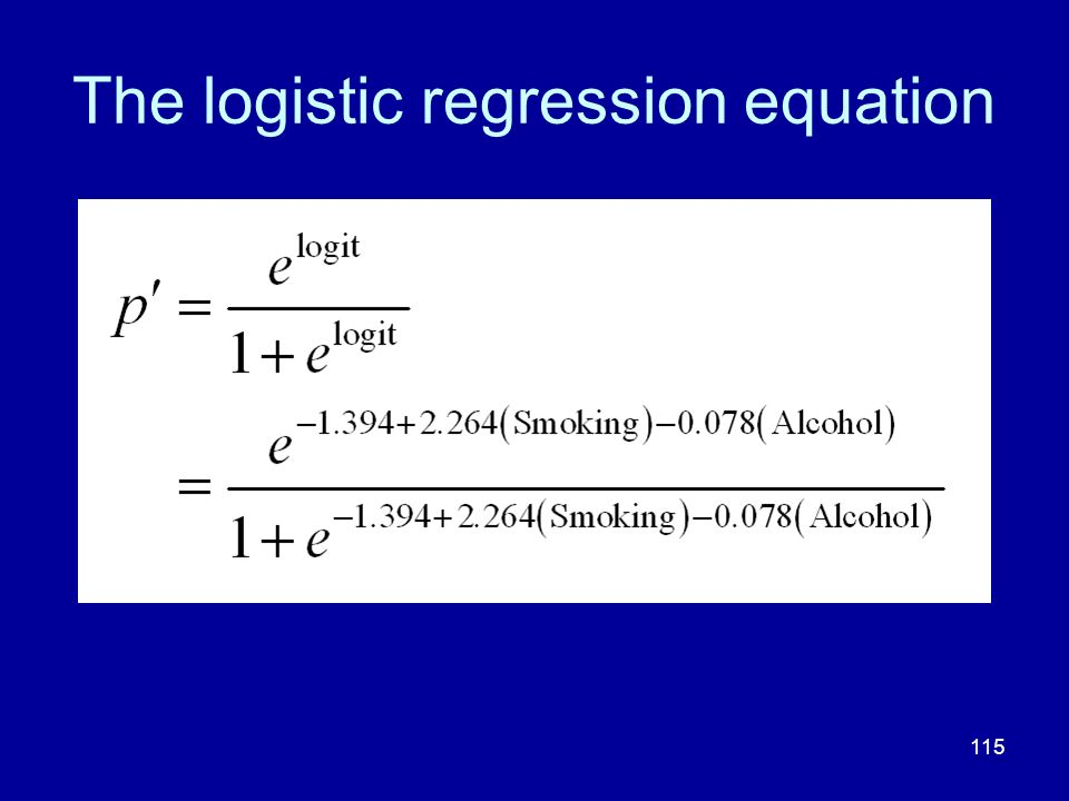 The logistic regression equation