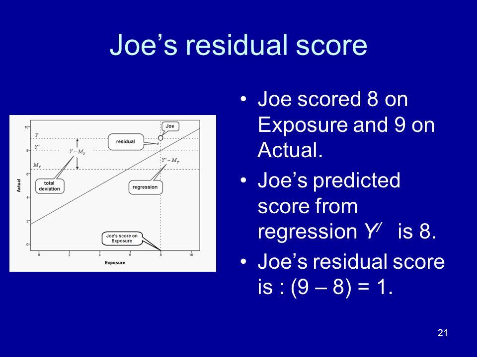 Joe's residual score Joe scored 8 on Exposure and 9 on Actual.
