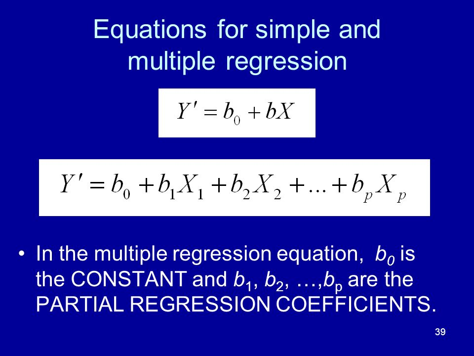 Equations for simple and multiple regression