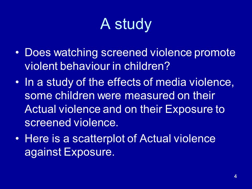 A study Does watching screened violence promote violent behaviour in children