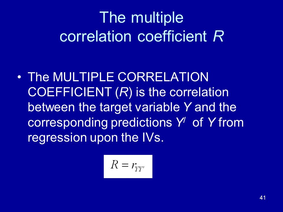The multiple correlation coefficient R
