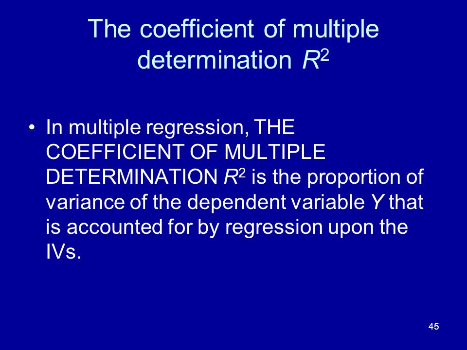 The coefficient of multiple determination R2