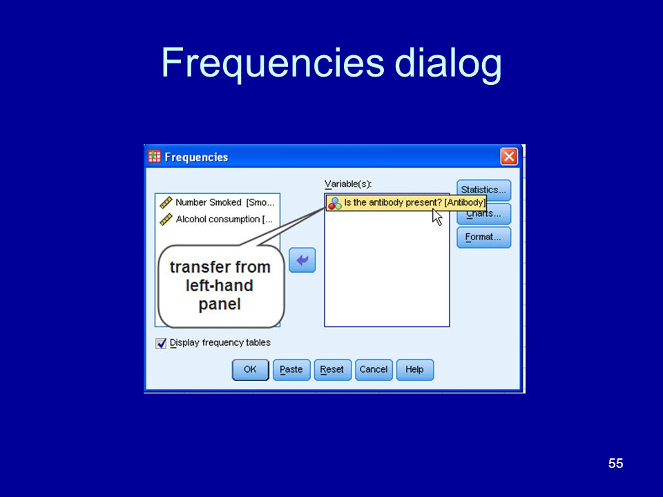 Frequencies dialog