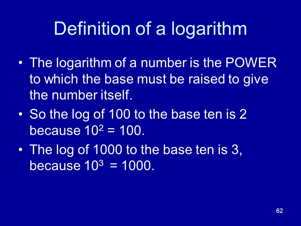 Definition of a logarithm