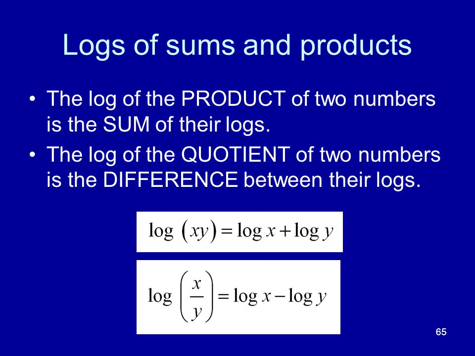 Logs of sums and products
