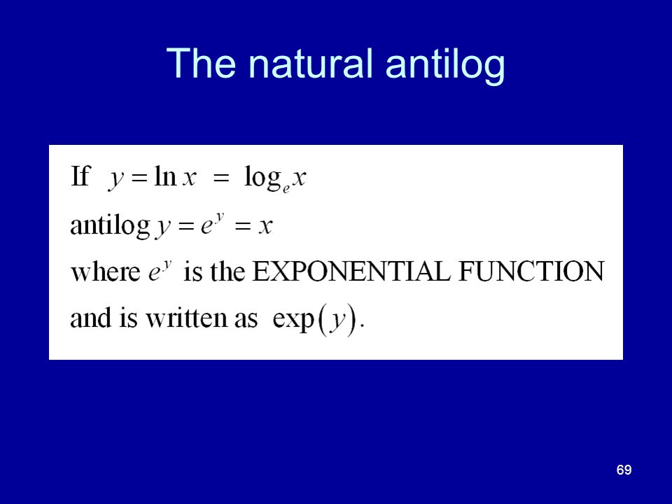 The natural antilog