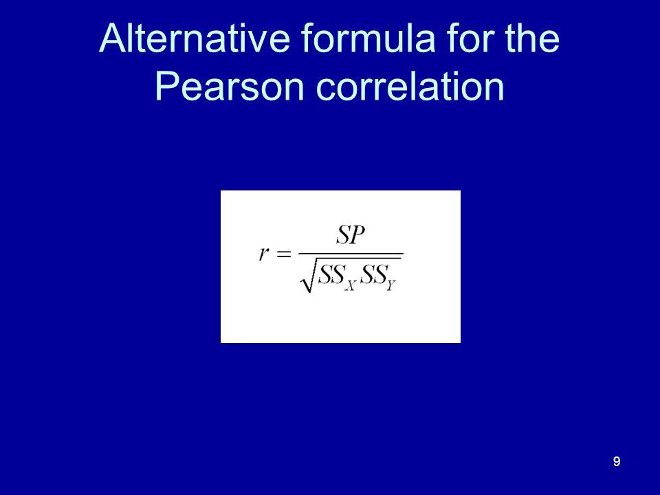 Alternative formula for the Pearson correlation