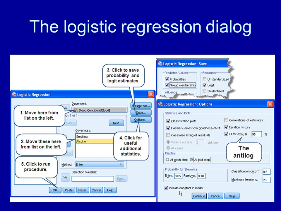 The logistic regression dialog