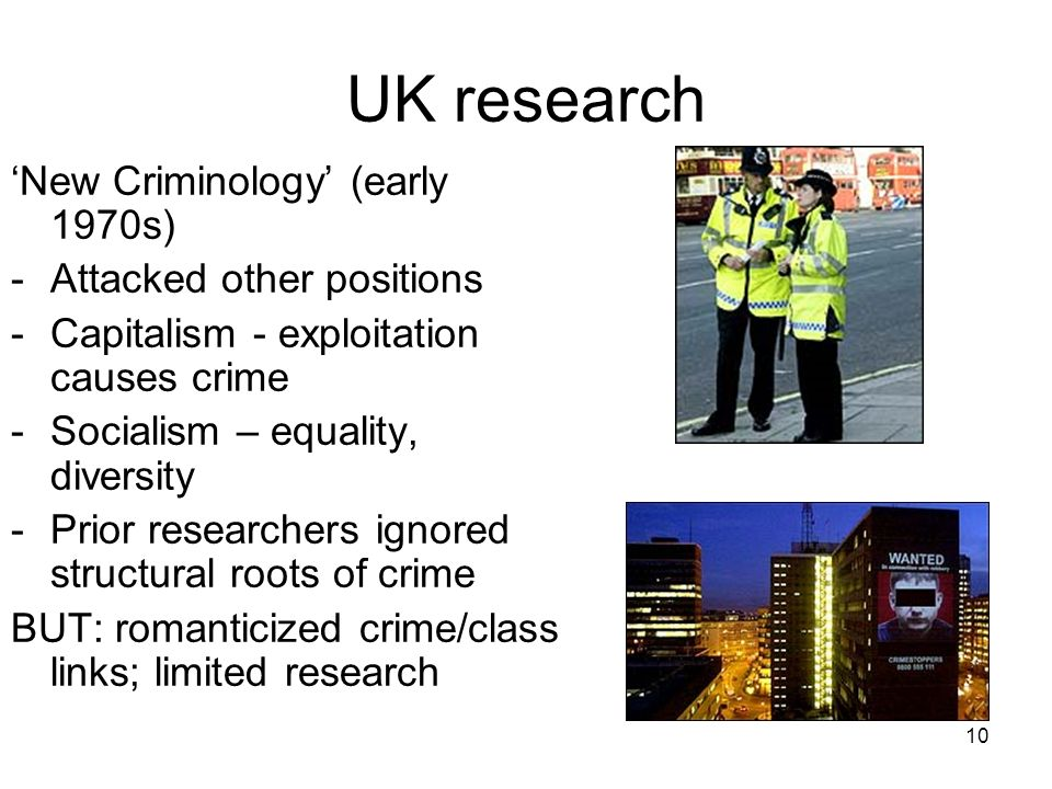 UK research 'New Criminology' (early 1970s) Attacked other positions