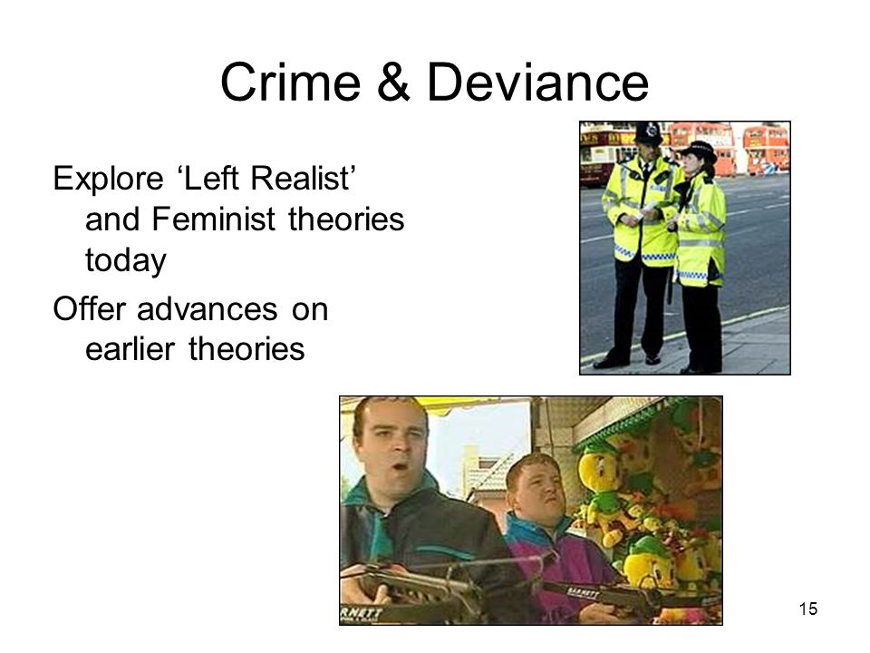 Crime & Deviance Explore 'Left Realist' and Feminist theories today
