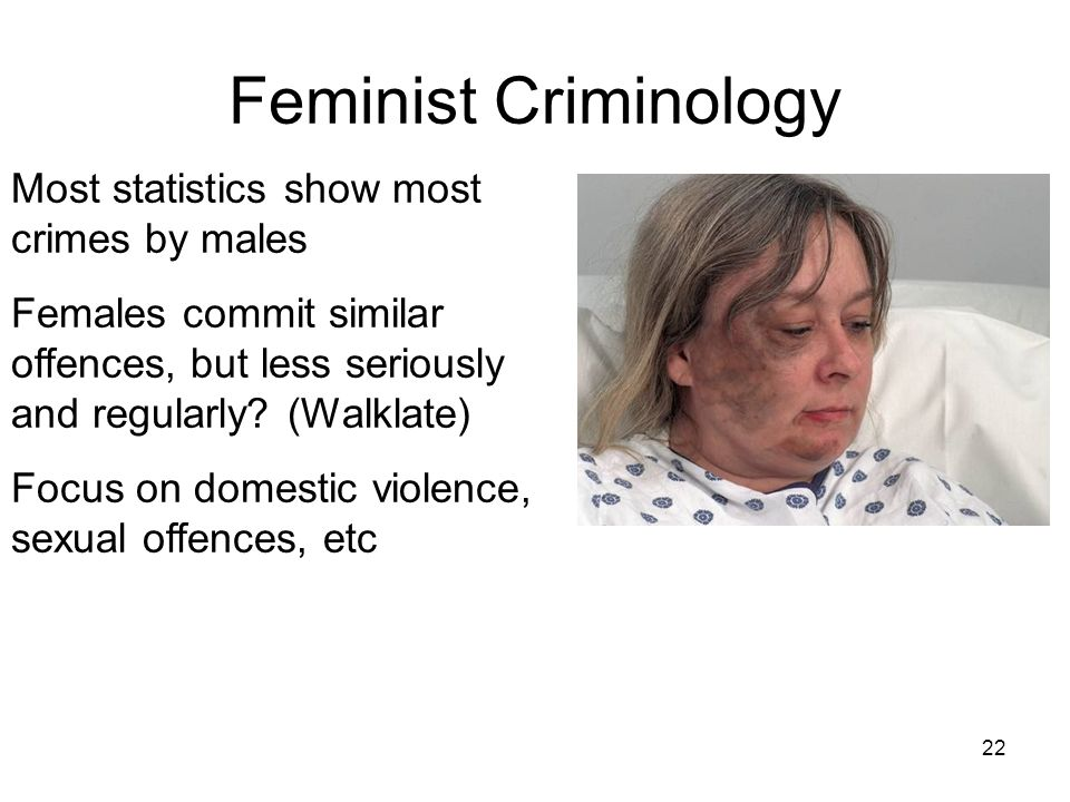 Feminist Criminology Most statistics show most crimes by males