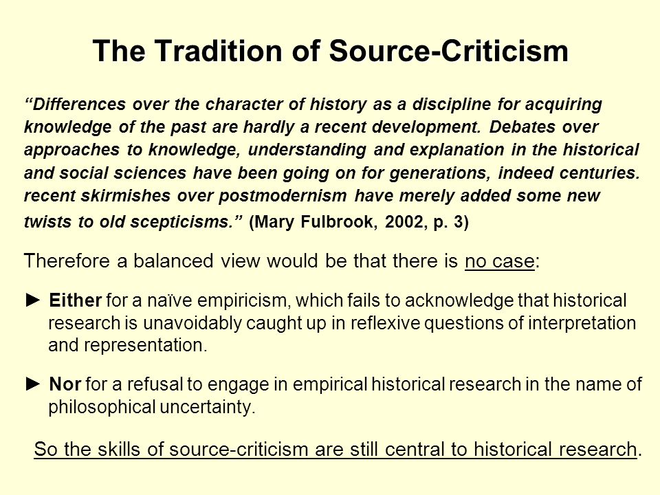 The Tradition of Source-Criticism