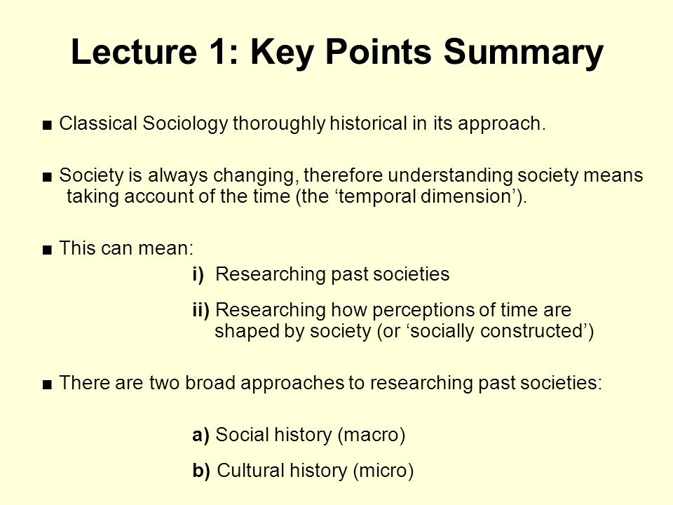 Lecture 1: Key Points Summary