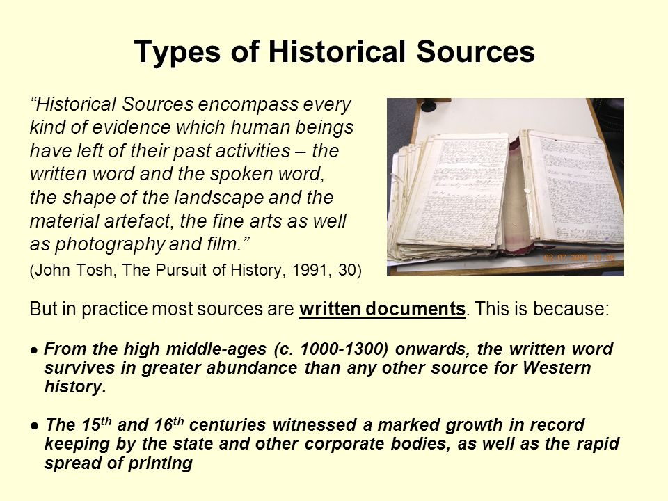Types of Historical Sources