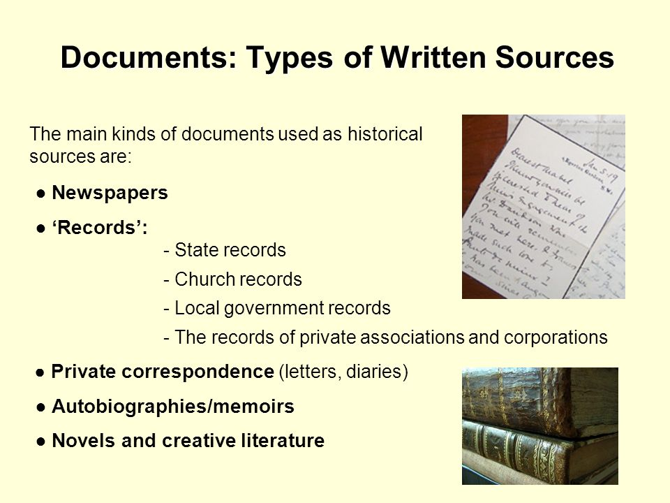 Documents: Types of Written Sources