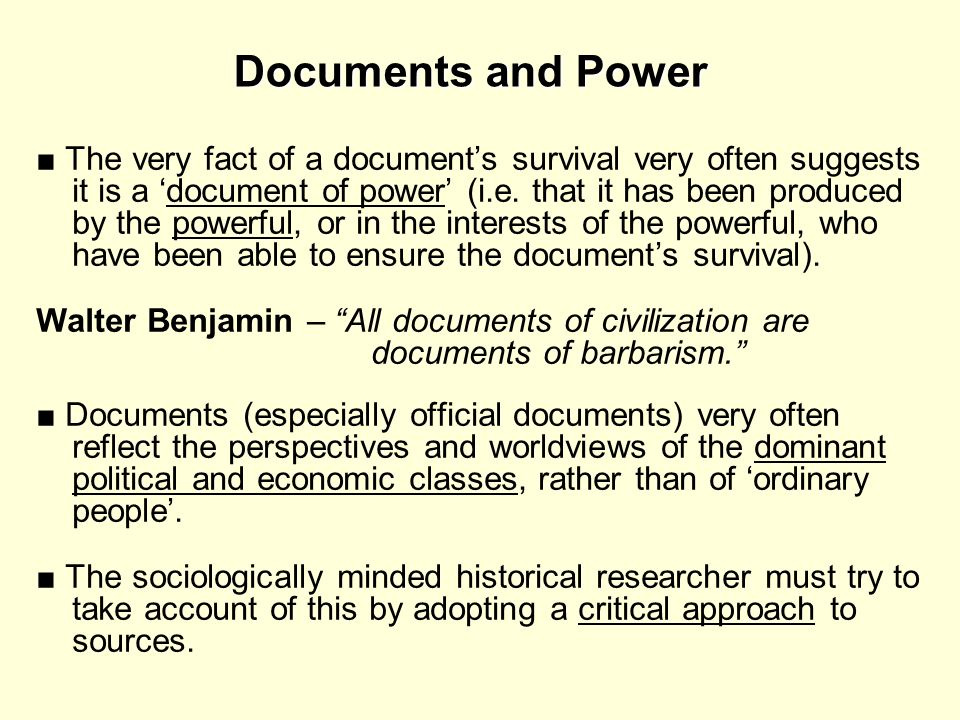Documents and Power