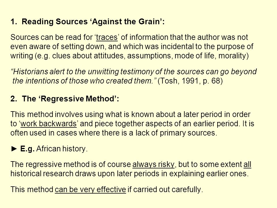 1. Reading Sources 'Against the Grain':