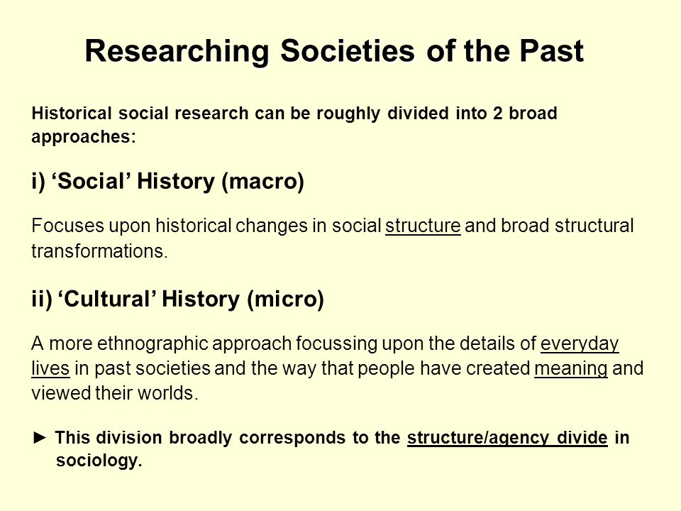 Researching Societies of the Past