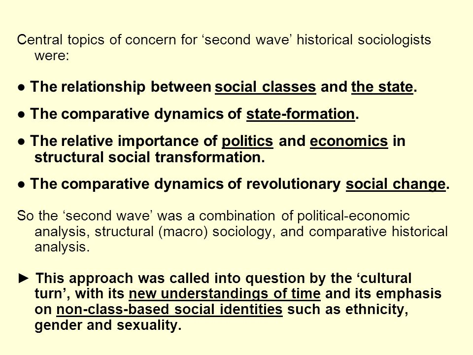 ● The relationship between social classes and the state.