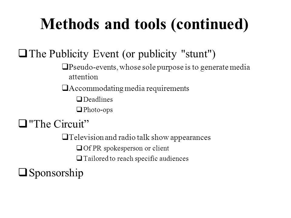 Methods and tools (continued)