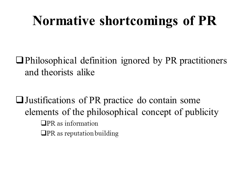 Normative shortcomings of PR