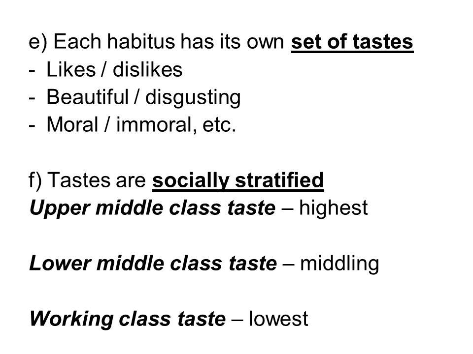 e) Each habitus has its own set of tastes