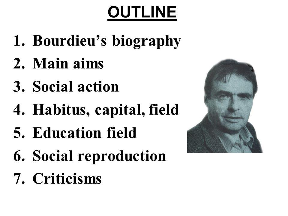 OUTLINE Bourdieu's biography. Main aims. Social action. Habitus, capital, field. Education field.