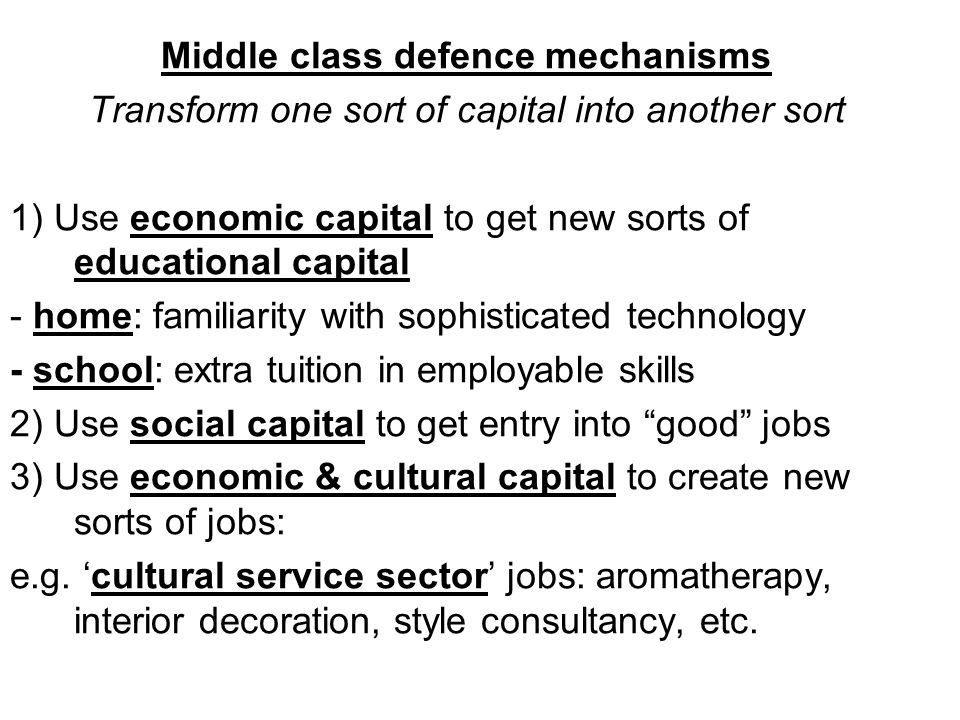 Middle class defence mechanisms