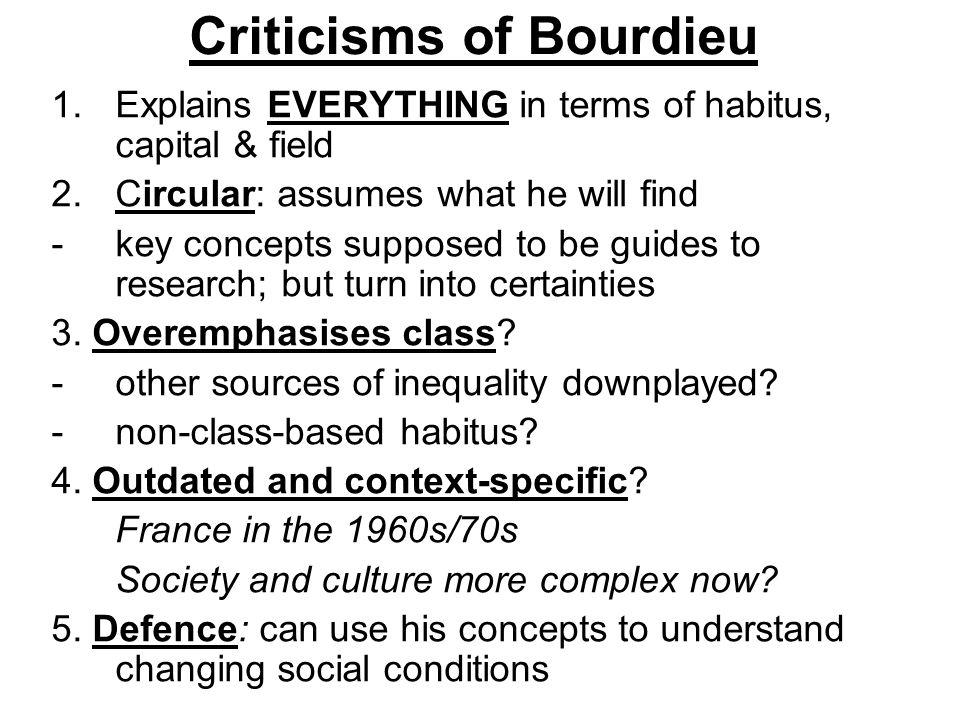 Criticisms of Bourdieu