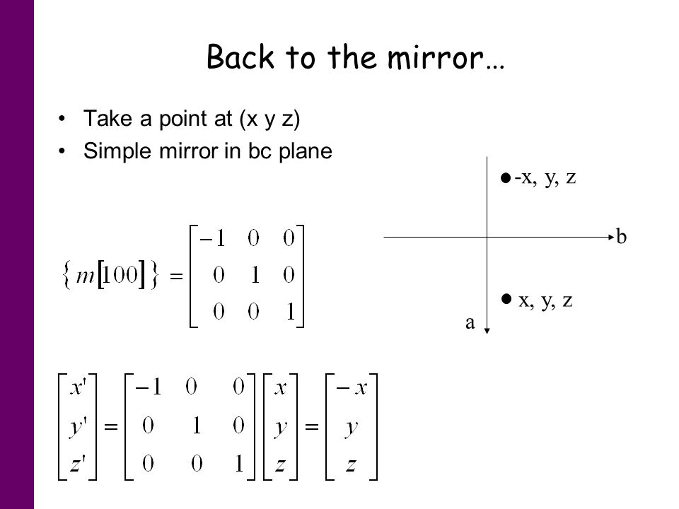 Back to the mirror… Take a point at (x y z) Simple mirror in bc plane