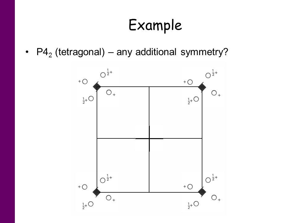 Example P42 (tetragonal) – any additional symmetry