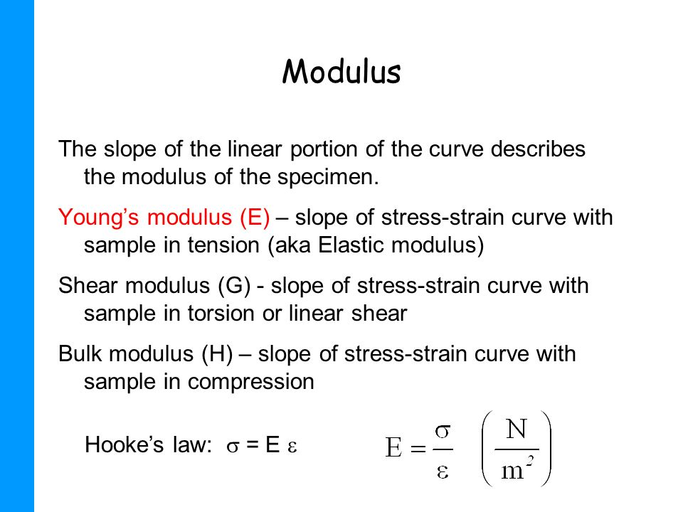ModulusThe slope of the linear portion of the curve describes the modulus of the specimen.