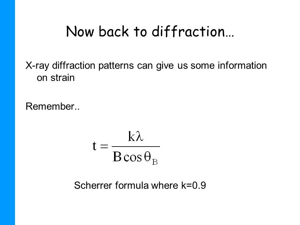 Now back to diffraction…