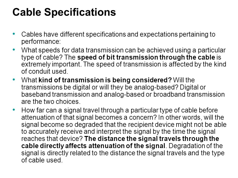 So Cable Specifications : Copper media describe the specifications and performances