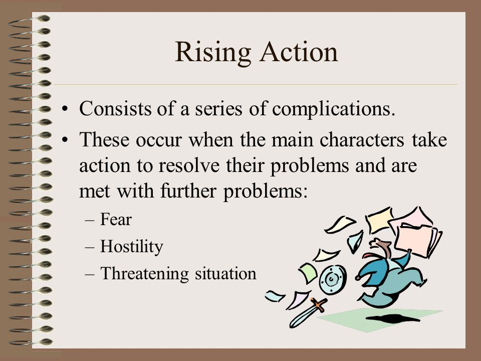 Rising Action Consists of a series of complications.