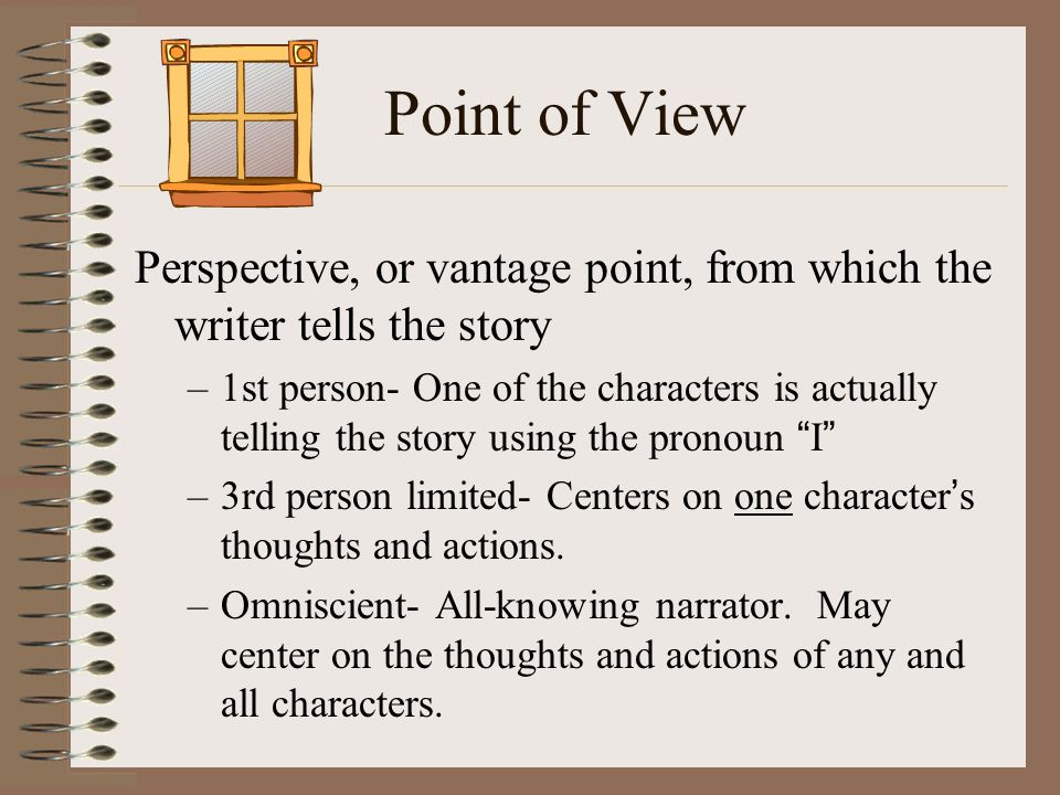 Point of View Perspective, or vantage point, from which the writer tells the story.