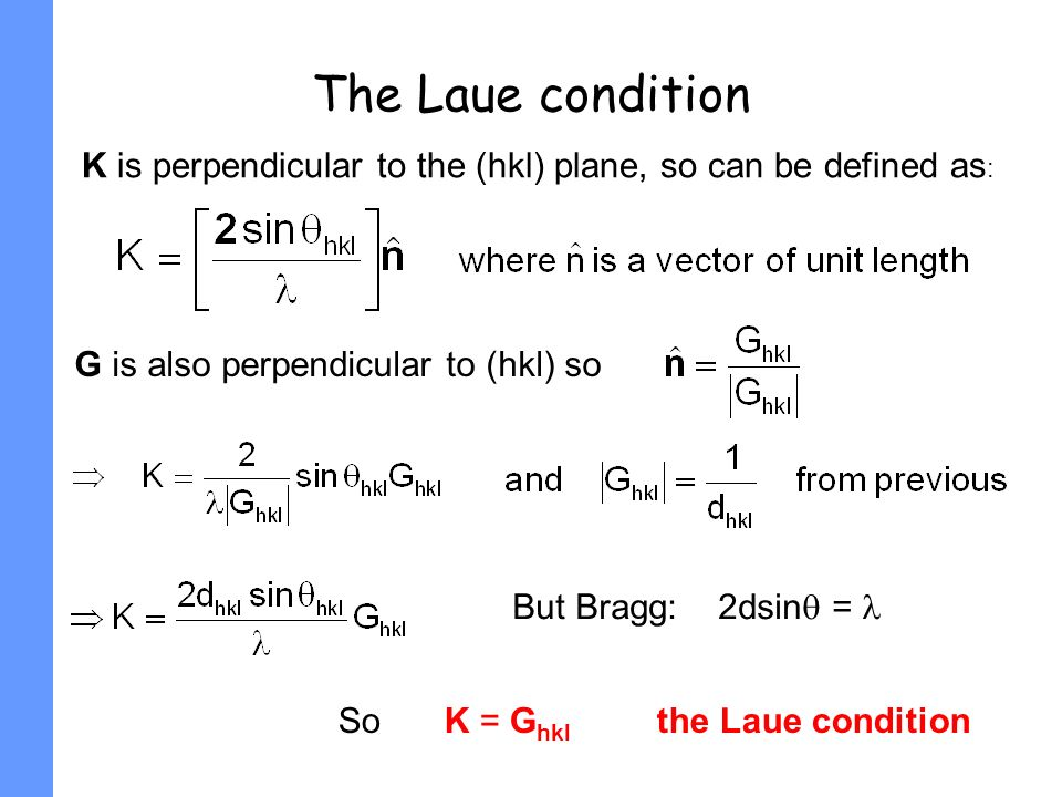 The Laue condition K is perpendicular to the (hkl) plane, so can be defined as: G is also perpendicular to (hkl) so.