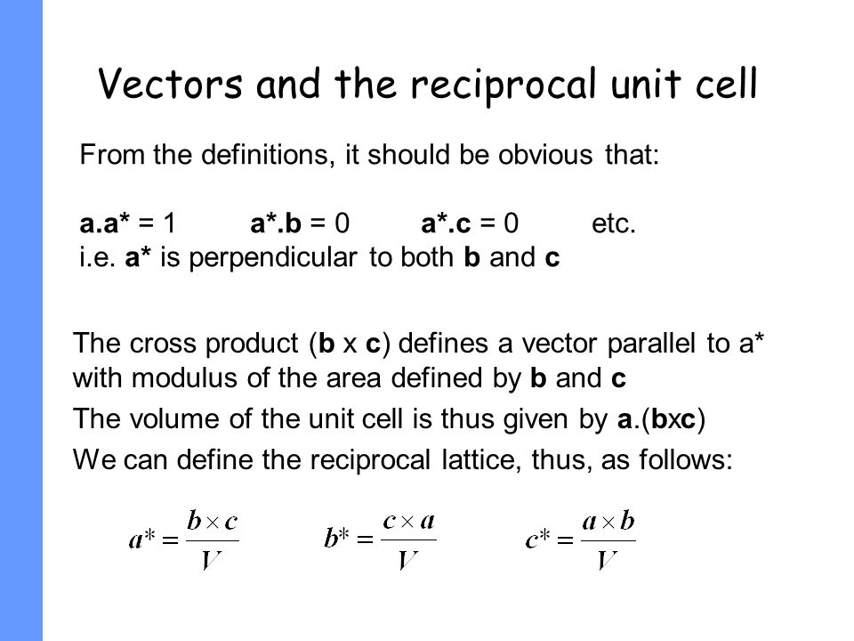 Vectors and the reciprocal unit cell