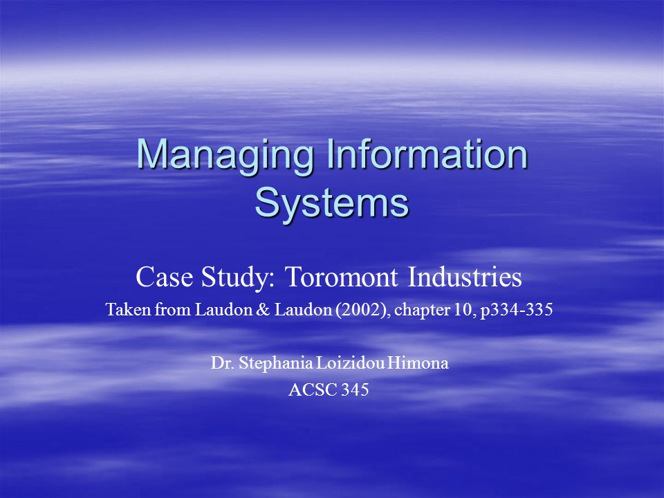 chapter 10 case study Case 101 the thompson company before making a cold call on the thompson company, you did some research on the account home chapter 10 case studies.