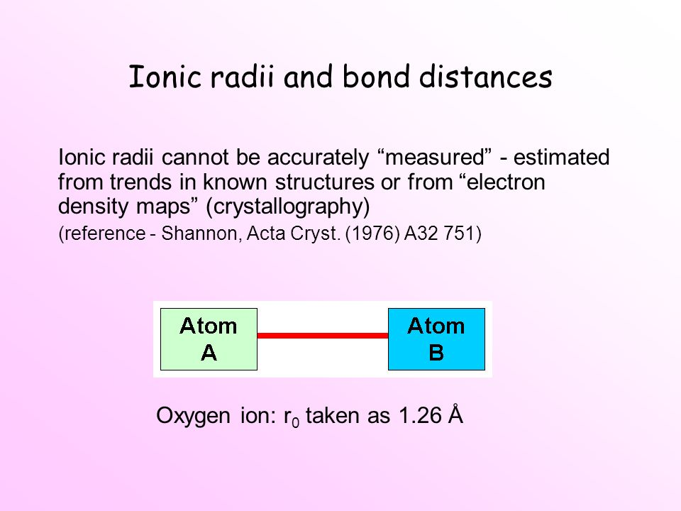 Ionic radii and bond distances