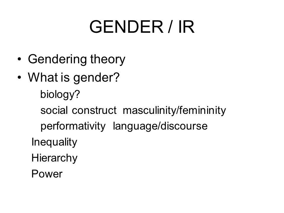 GENDER / IR Gendering theory What is gender biology