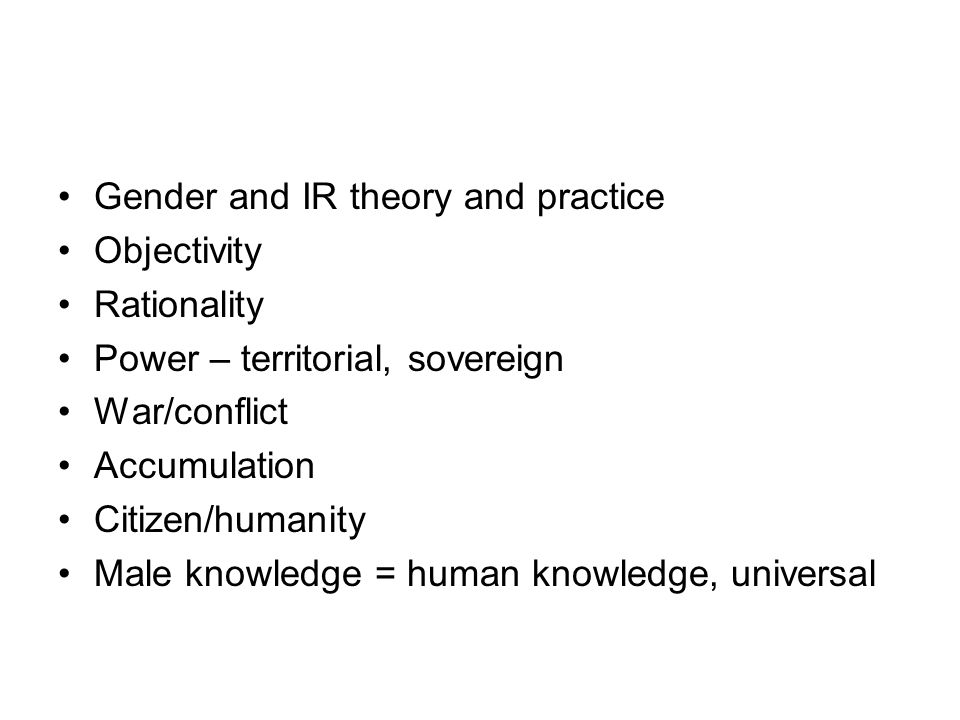 Gender and IR theory and practice