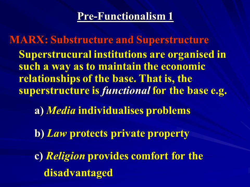 Pre-Functionalism 1 MARX: Substructure and Superstructure